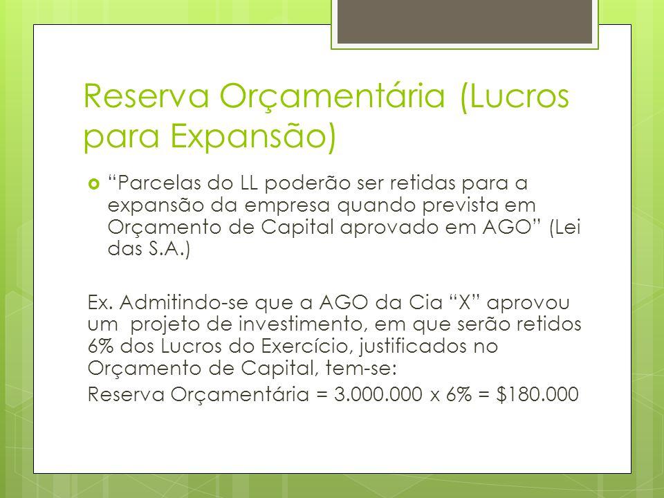Reserva Orçamentária (Lucros para Expansão) Parcelas do LL poderão ser retidas para a expansão da empresa quando prevista em Orçamento de Capital apro