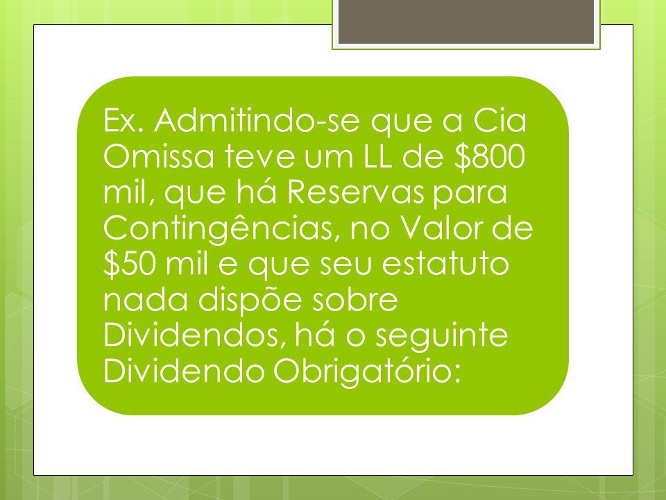 Ex. Admitindo-se que a Cia Omissa teve um LL de $800 mil, que há Reservas para Contingências, no Valor de $50 mil e que seu estatuto nada dispõe sobre