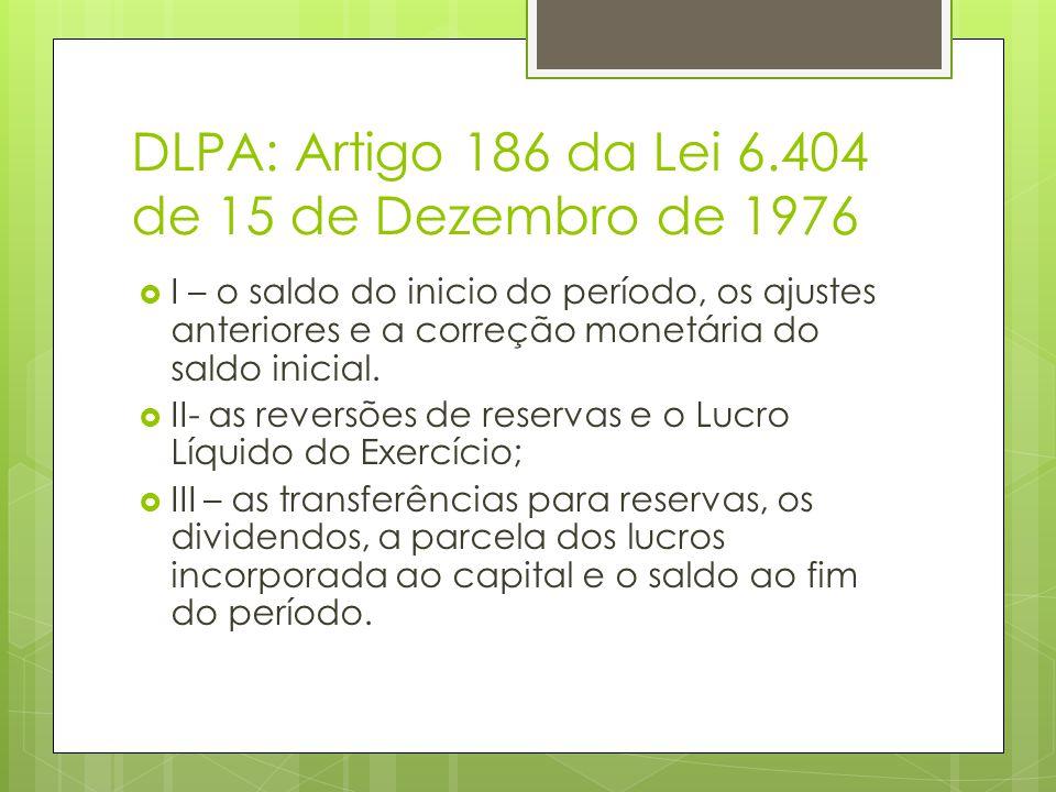 DLPA: Artigo 186 da Lei 6.404 de 15 de Dezembro de 1976 I – o saldo do inicio do período, os ajustes anteriores e a correção monetária do saldo inicia