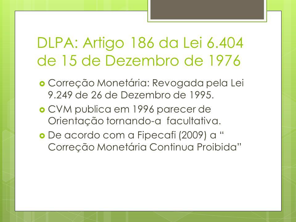 DLPA: Artigo 186 da Lei 6.404 de 15 de Dezembro de 1976 Correção Monetária: Revogada pela Lei 9.249 de 26 de Dezembro de 1995. CVM publica em 1996 par
