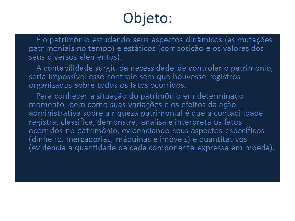 Objeto: É o patrimônio estudando seus aspectos dinâmicos (as mutações patrimoniais no tempo) e estáticos (composição e os valores dos seus diversos el