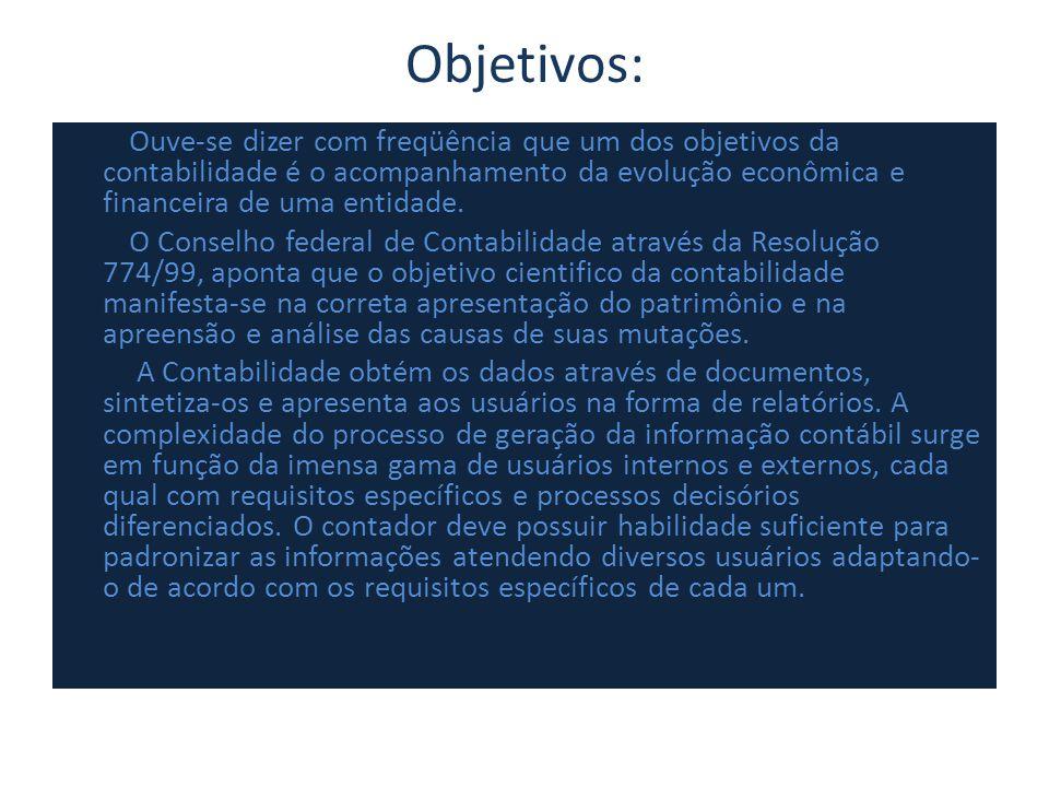 Objetivos: Ouve-se dizer com freqüência que um dos objetivos da contabilidade é o acompanhamento da evolução econômica e financeira de uma entidade. O
