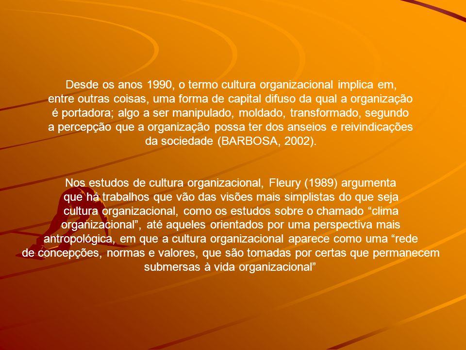 Desde os anos 1990, o termo cultura organizacional implica em, entre outras coisas, uma forma de capital difuso da qual a organização é portadora; algo a ser manipulado, moldado, transformado, segundo a percepção que a organização possa ter dos anseios e reivindicações da sociedade (BARBOSA, 2002).
