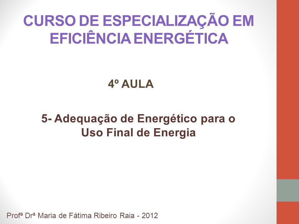 CURSO DE ESPECIALIZAÇÃO EM EFICIÊNCIA ENERGÉTICA 5- Adequação de Energético para o Uso Final de Energia Profª Drª Maria de Fátima Ribeiro Raia - 2012