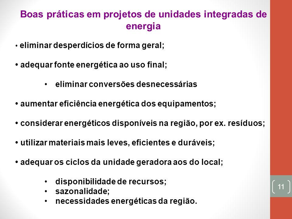 11 Boas práticas em projetos de unidades integradas de energia eliminar desperdícios de forma geral; adequar fonte energética ao uso final; eliminar c