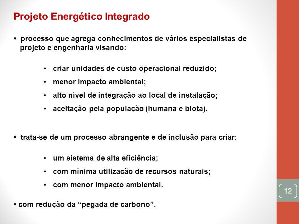 12 Projeto Energético Integrado processo que agrega conhecimentos de vários especialistas de projeto e engenharia visando: criar unidades de custo ope