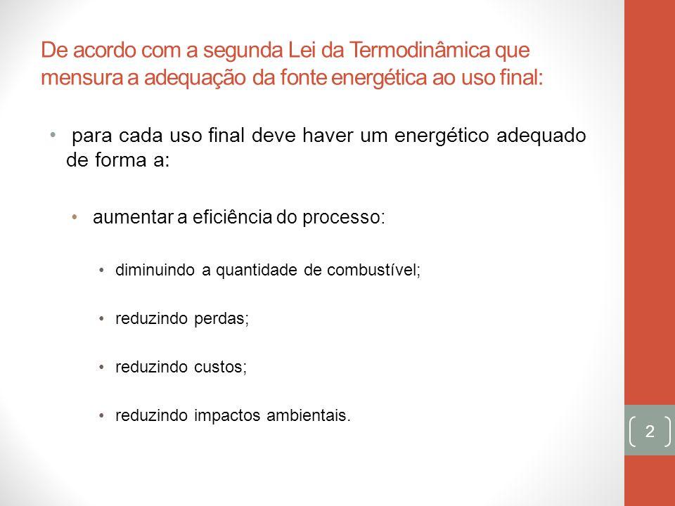 De acordo com a segunda Lei da Termodinâmica que mensura a adequação da fonte energética ao uso final: para cada uso final deve haver um energético ad