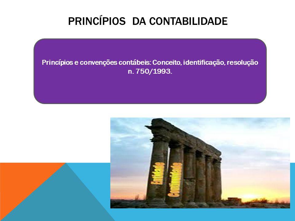 PRINCÍPIOS DA CONTABILIDADE Princípios e convenções contábeis: Conceito, identificação, resolução n. 750/1993.