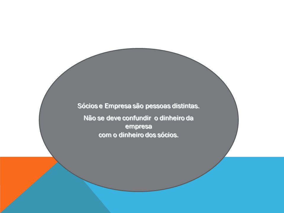 Sócios e Empresa são pessoas distintas. Não se deve confundir o dinheiro da empresa com o dinheiro dos sócios.