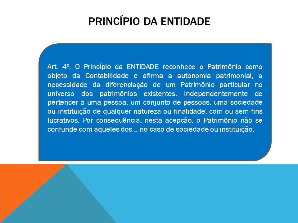 PRINCÍPIO DA ENTIDADE Art. 4º. O Princípio da ENTIDADE reconhece o Patrimônio como objeto da Contabilidade e afirma a autonomia patrimonial, a necessi