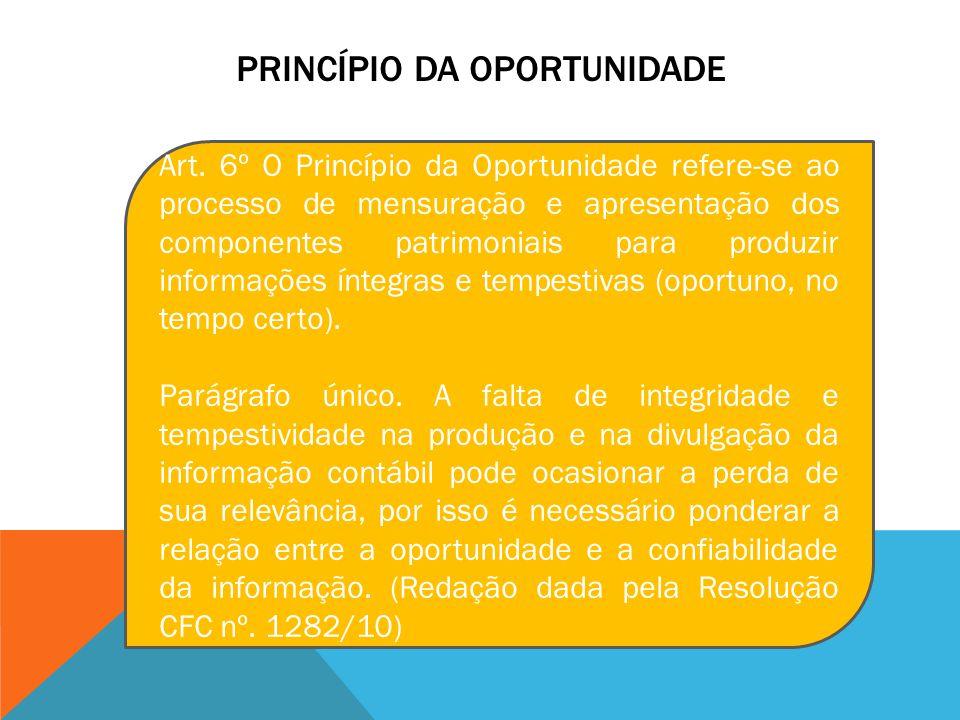 PRINCÍPIO DA OPORTUNIDADE Art. 6º O Princípio da Oportunidade refere-se ao processo de mensuração e apresentação dos componentes patrimoniais para pro