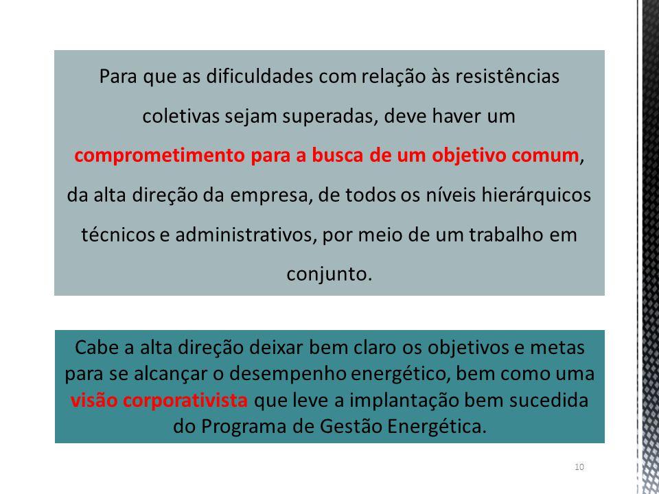 10 Para que as dificuldades com relação às resistências coletivas sejam superadas, deve haver um comprometimento para a busca de um objetivo comum, da