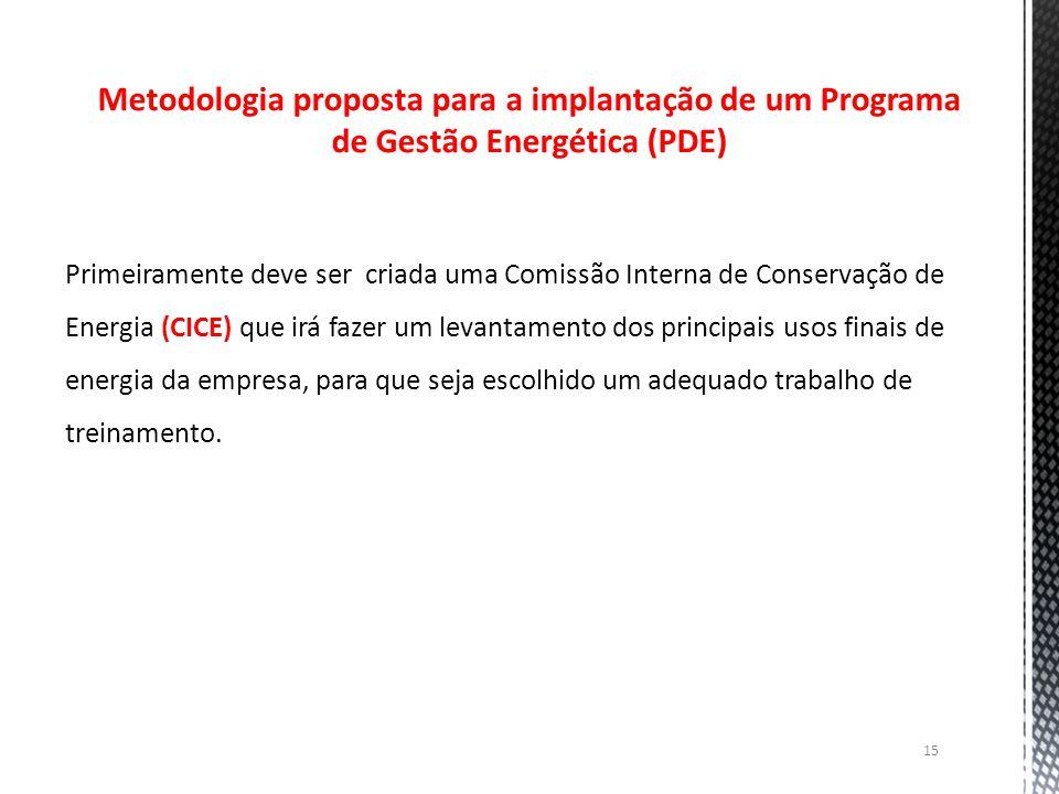 15 Metodologia proposta para a implantação de um Programa de Gestão Energética (PDE) Primeiramente deve ser criada uma Comissão Interna de Conservação