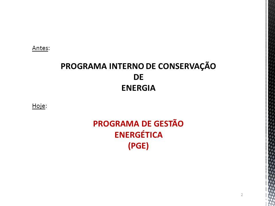 Antes: PROGRAMA INTERNO DE CONSERVAÇÃO DE ENERGIA Hoje: PROGRAMA DE GESTÃO ENERGÉTICA (PGE) 2