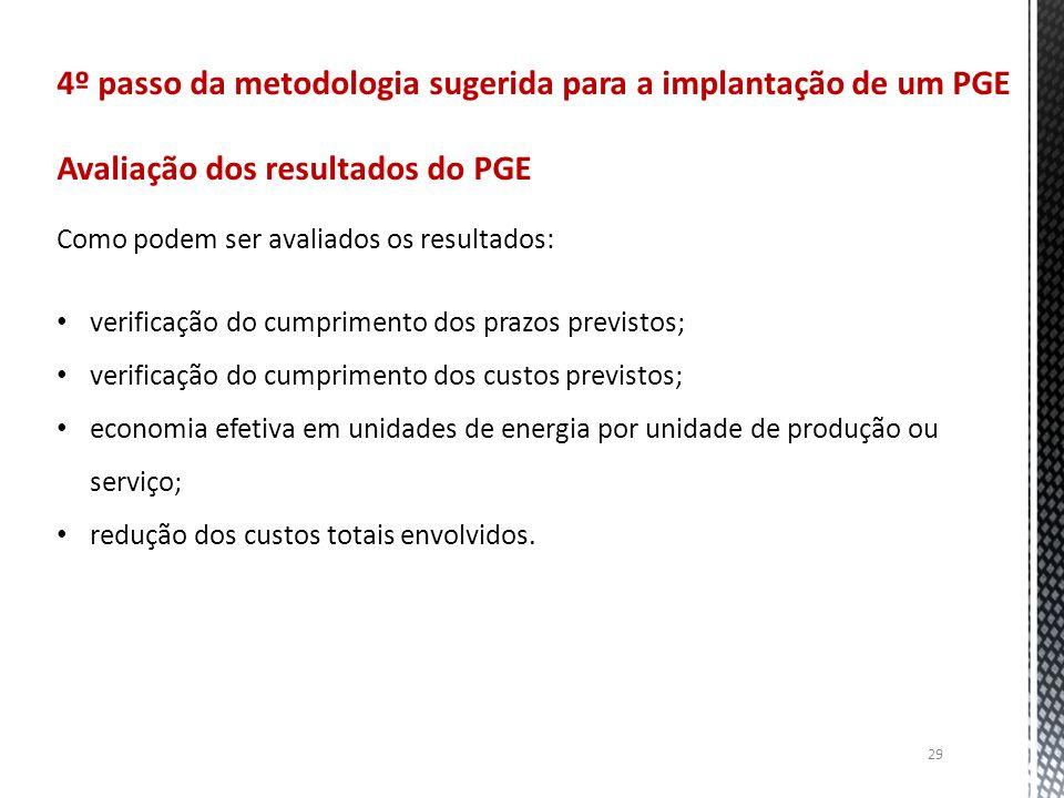 29 4º passo da metodologia sugerida para a implantação de um PGE Avaliação dos resultados do PGE Como podem ser avaliados os resultados: verificação d