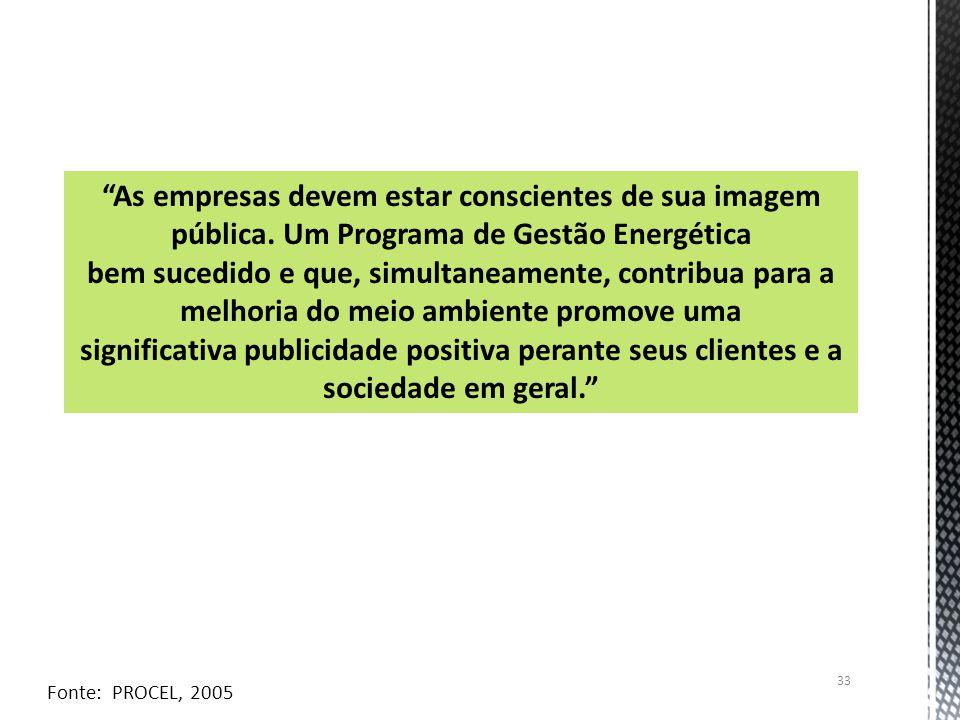 33 As empresas devem estar conscientes de sua imagem pública. Um Programa de Gestão Energética bem sucedido e que, simultaneamente, contribua para a m
