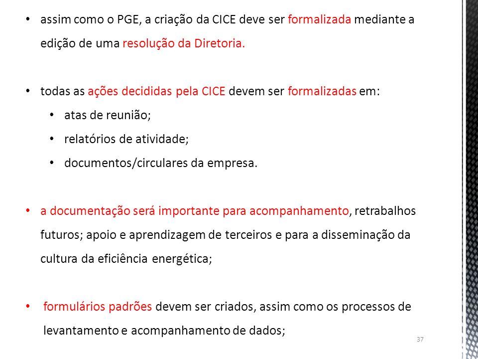 37 assim como o PGE, a criação da CICE deve ser formalizada mediante a edição de uma resolução da Diretoria. todas as ações decididas pela CICE devem