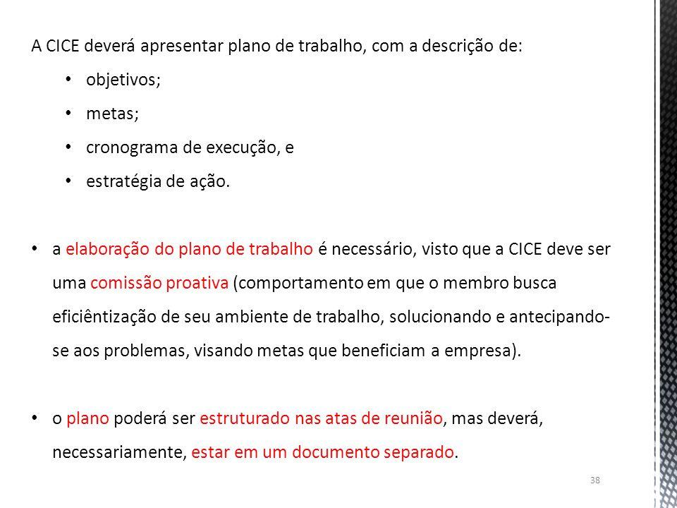 38 A CICE deverá apresentar plano de trabalho, com a descrição de: objetivos; metas; cronograma de execução, e estratégia de ação. a elaboração do pla
