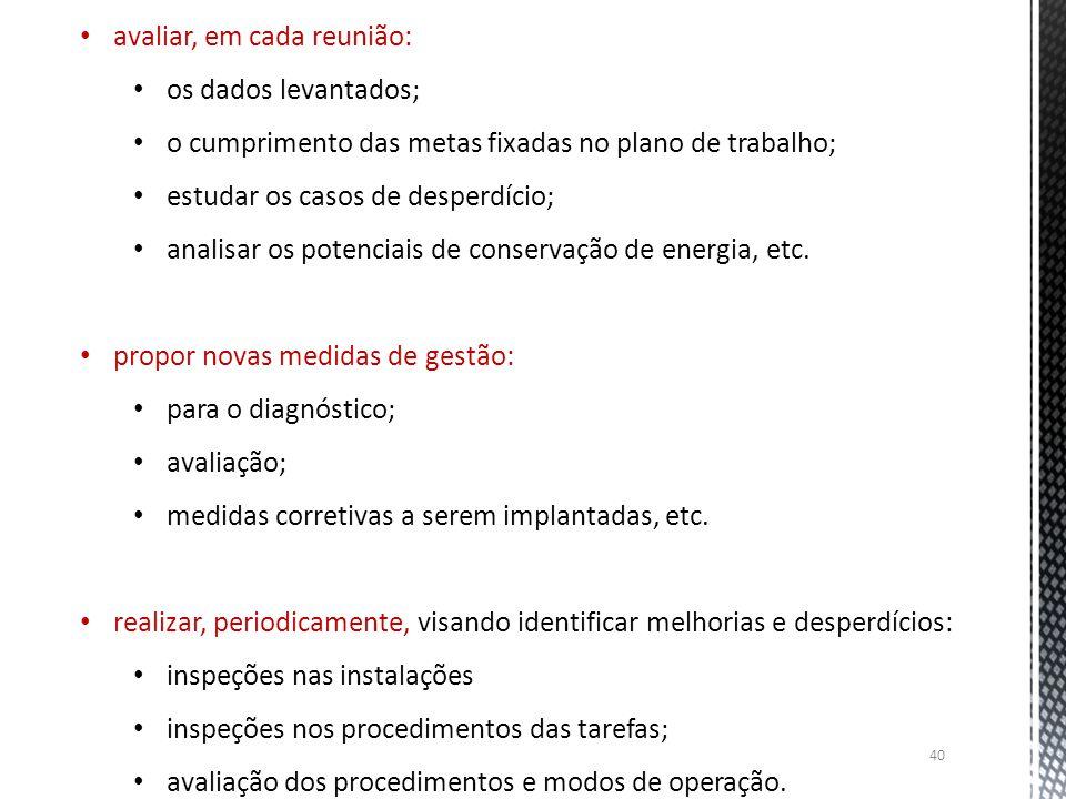 40 avaliar, em cada reunião: os dados levantados; o cumprimento das metas fixadas no plano de trabalho; estudar os casos de desperdício; analisar os p