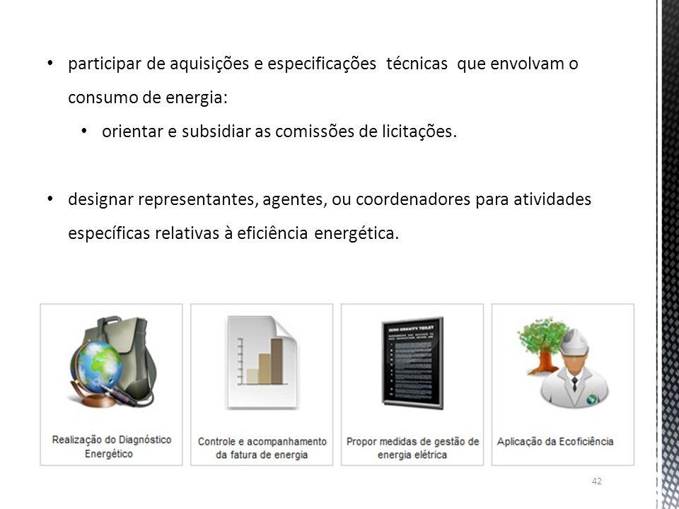 42 participar de aquisições e especificações técnicas que envolvam o consumo de energia: orientar e subsidiar as comissões de licitações. designar rep