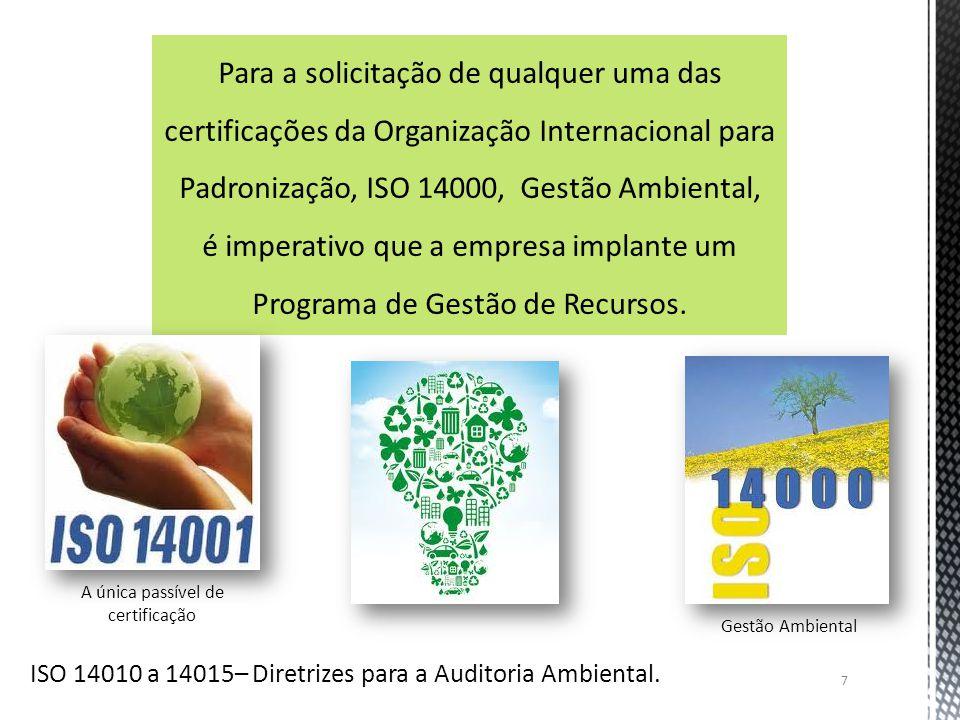 7 Para a solicitação de qualquer uma das certificações da Organização Internacional para Padronização, ISO 14000, Gestão Ambiental, é imperativo que a
