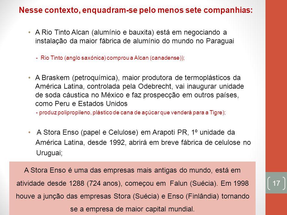 Nesse contexto, enquadram-se pelo menos sete companhias: A Rio Tinto Alcan (alumínio e bauxita) está em negociando a instalação da maior fábrica de al