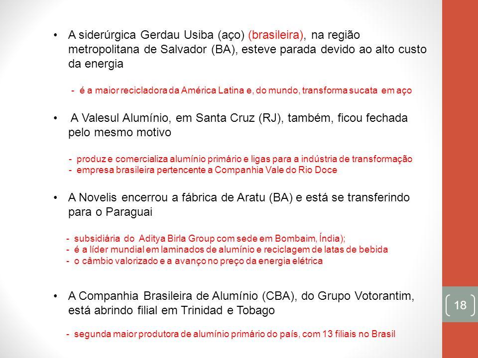 18 A siderúrgica Gerdau Usiba (aço) (brasileira), na região metropolitana de Salvador (BA), esteve parada devido ao alto custo da energia - é a maior