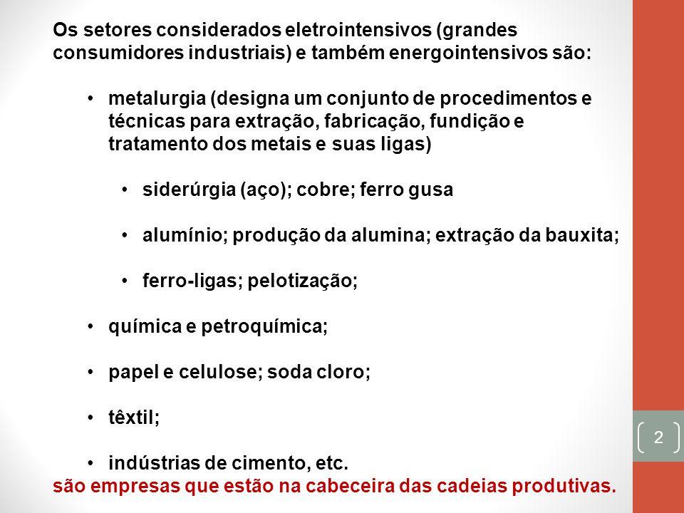 2 Os setores considerados eletrointensivos (grandes consumidores industriais) e também energointensivos são: metalurgia (designa um conjunto de proced