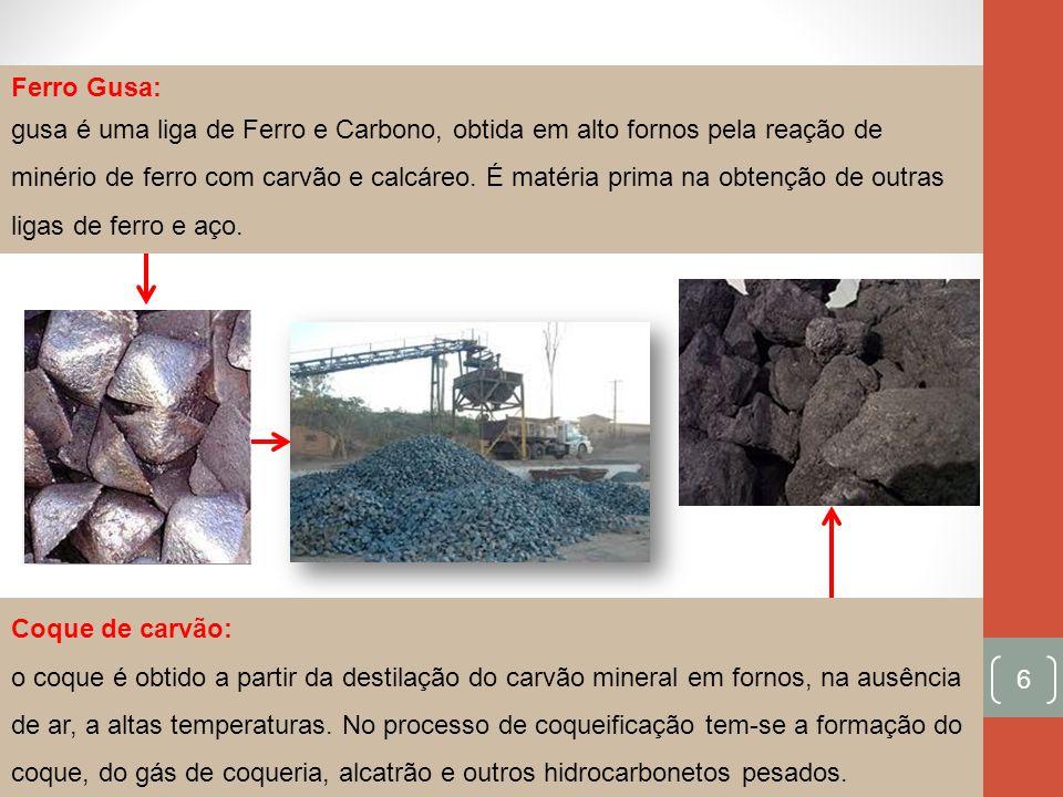 6 Ferro Gusa: gusa é uma liga de Ferro e Carbono, obtida em alto fornos pela reação de minério de ferro com carvão e calcáreo. É matéria prima na obte