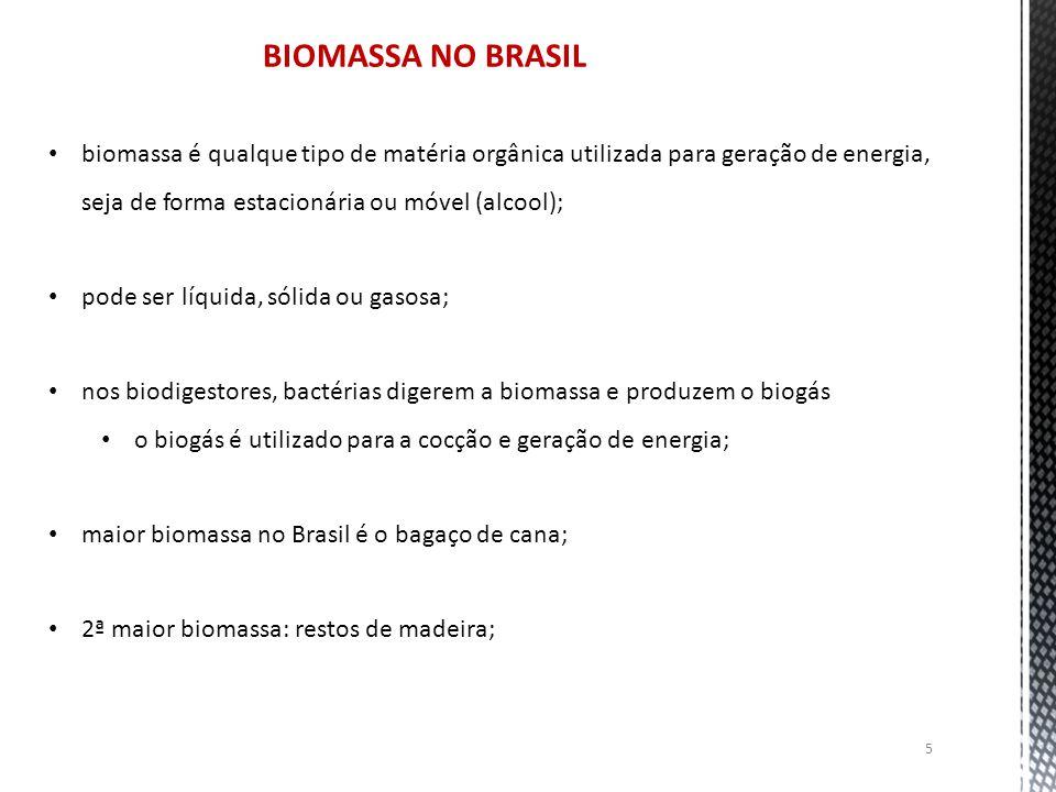 5 BIOMASSA NO BRASIL biomassa é qualque tipo de matéria orgânica utilizada para geração de energia, seja de forma estacionária ou móvel (alcool); pode ser líquida, sólida ou gasosa; nos biodigestores, bactérias digerem a biomassa e produzem o biogás o biogás é utilizado para a cocção e geração de energia; maior biomassa no Brasil é o bagaço de cana; 2ª maior biomassa: restos de madeira;