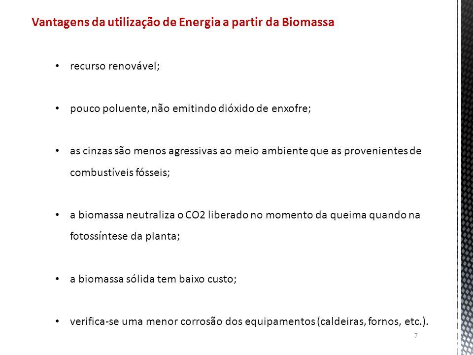 7 Vantagens da utilização de Energia a partir da Biomassa recurso renovável; pouco poluente, não emitindo dióxido de enxofre; as cinzas são menos agressivas ao meio ambiente que as provenientes de combustíveis fósseis; a biomassa neutraliza o CO2 liberado no momento da queima quando na fotossíntese da planta; a biomassa sólida tem baixo custo; verifica-se uma menor corrosão dos equipamentos (caldeiras, fornos, etc.).