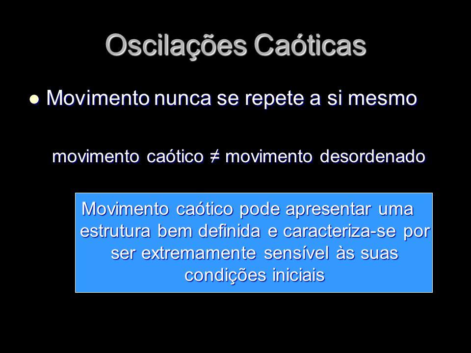 Movimento Movimento nunca se repete a si mesmo movimento caótico movimento desordenado Movimento caótico pode apresentar uma estrutura bem definida e