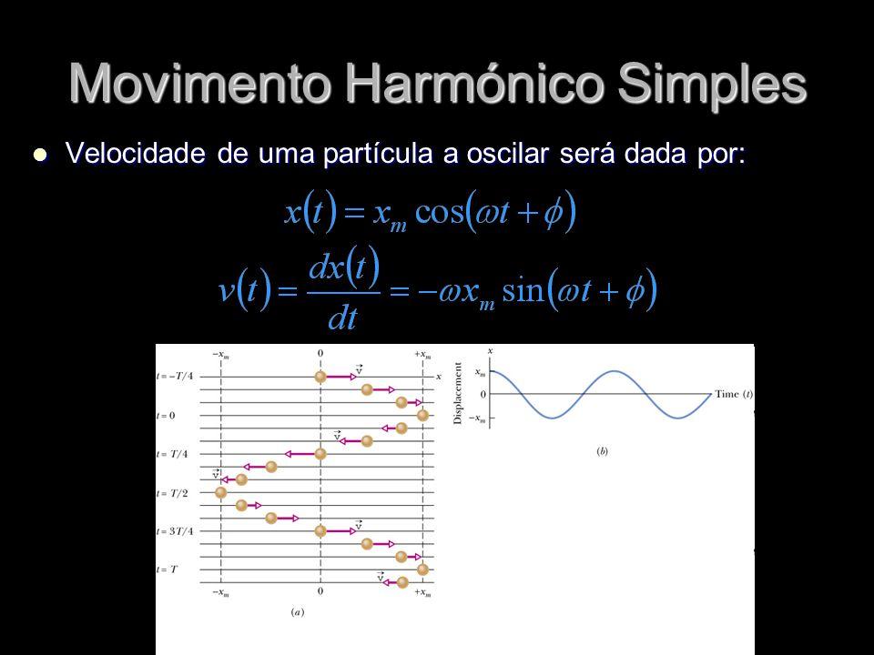 Movimento Harmónico Simples Velocidade de uma partícula a oscilar será dada por: Velocidade de uma partícula a oscilar será dada por: