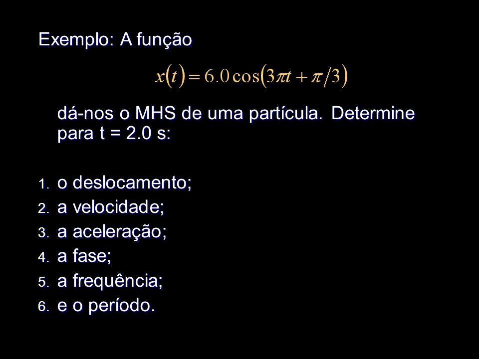 Exemplo: A função dá-nos o MHS de uma partícula. Determine para t = 2.0 s: 1. o 1. o deslocamento; 2. a 2. a velocidade; 3. a 3. a aceleração; 4. a 4.