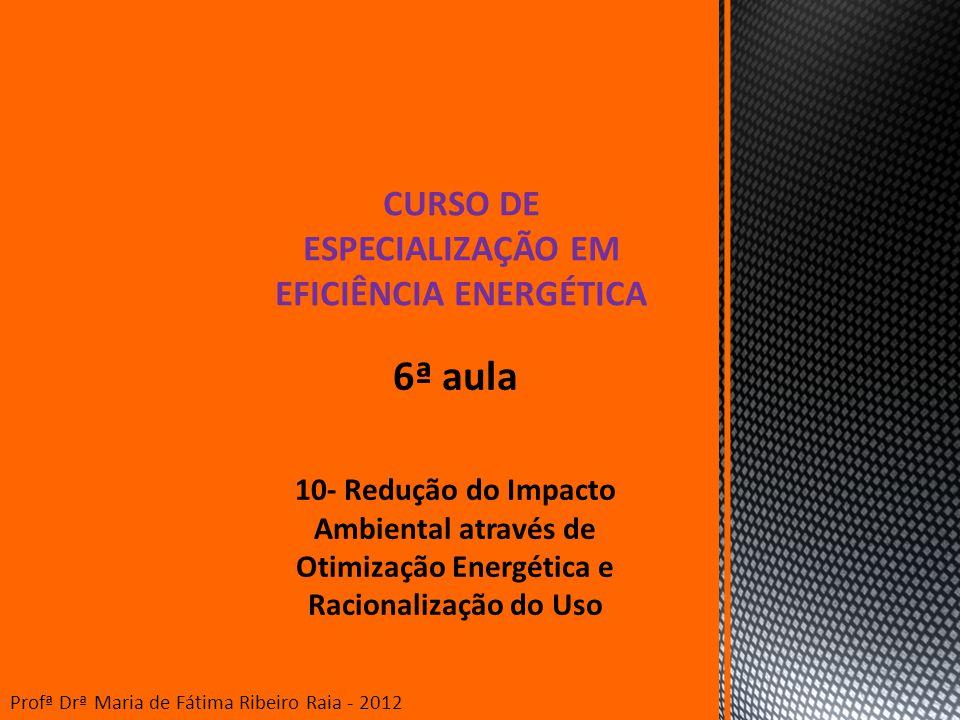 6ª aula 10- Redução do Impacto Ambiental através de Otimização Energética e Racionalização do Uso CURSO DE ESPECIALIZAÇÃO EM EFICIÊNCIA ENERGÉTICA Pro