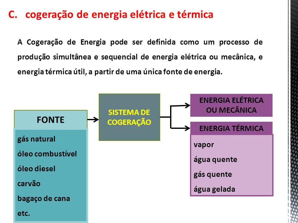 C. cogeração de energia elétrica e térmica A Cogeração de Energia pode ser definida como um processo de produção simultânea e sequencial de energia el