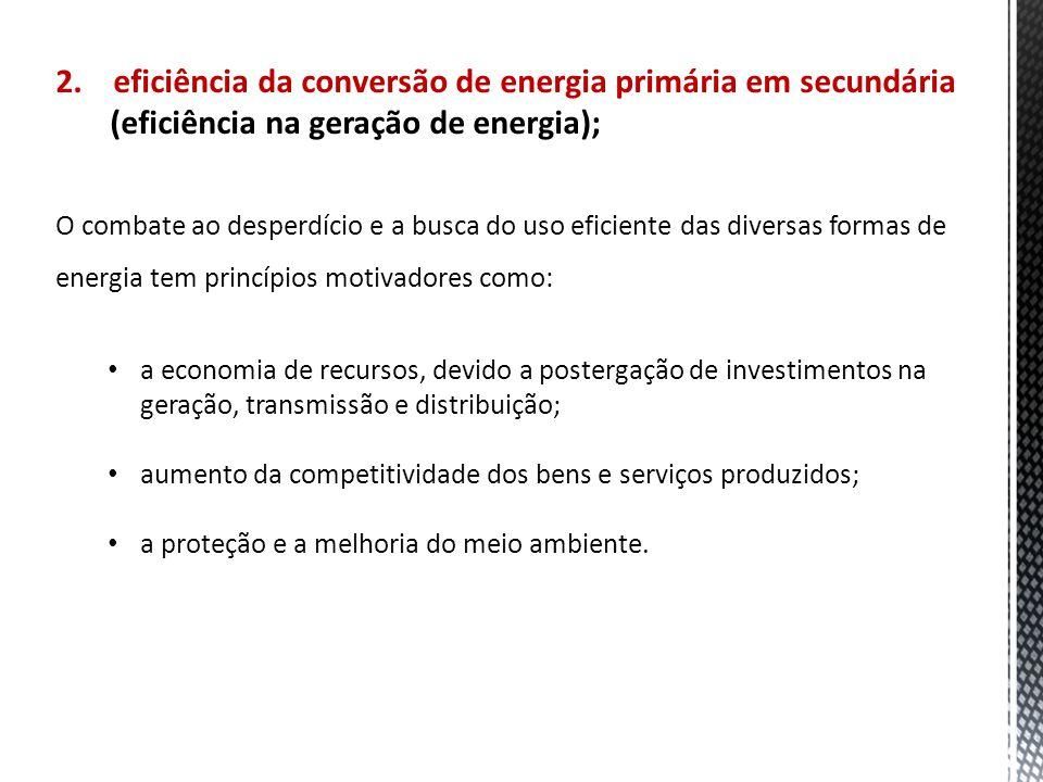 2. eficiência da conversão de energia primária em secundária (eficiência na geração de energia); O combate ao desperdício e a busca do uso eficiente d