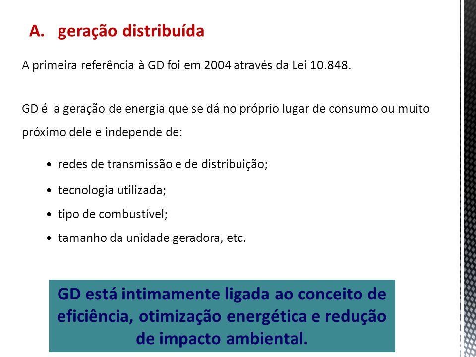 A. geração distribuída GD está intimamente ligada ao conceito de eficiência, otimização energética e redução de impacto ambiental. A primeira referênc