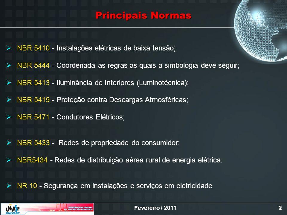 Fevereiro / 20112 Principais Normas NBR 5410 - Instalações elétricas de baixa tensão; NBR 5444 - Coordenada as regras as quais a simbologia deve segui