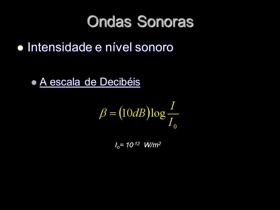 Ondas Sonoras Intensidade e nível sonoro Intensidade e nível sonoro A escala de Decibéis A escala de Decibéis I o = 10 -12 W/m 2