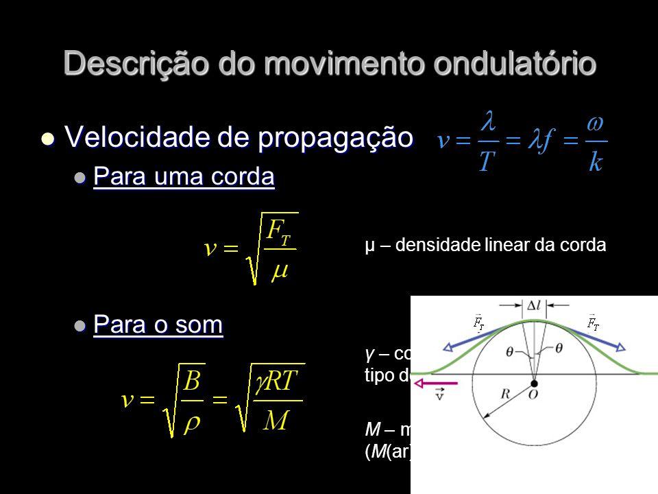 Velocidade de propagação Velocidade de propagação Para uma corda Para uma corda Para o som Para o som Descrição do movimento ondulatório μ – densidade