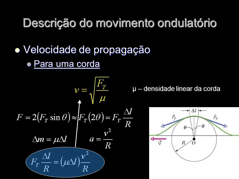 Velocidade de propagação Velocidade de propagação Para uma corda Para uma corda μ – densidade linear da corda Descrição do movimento ondulatório