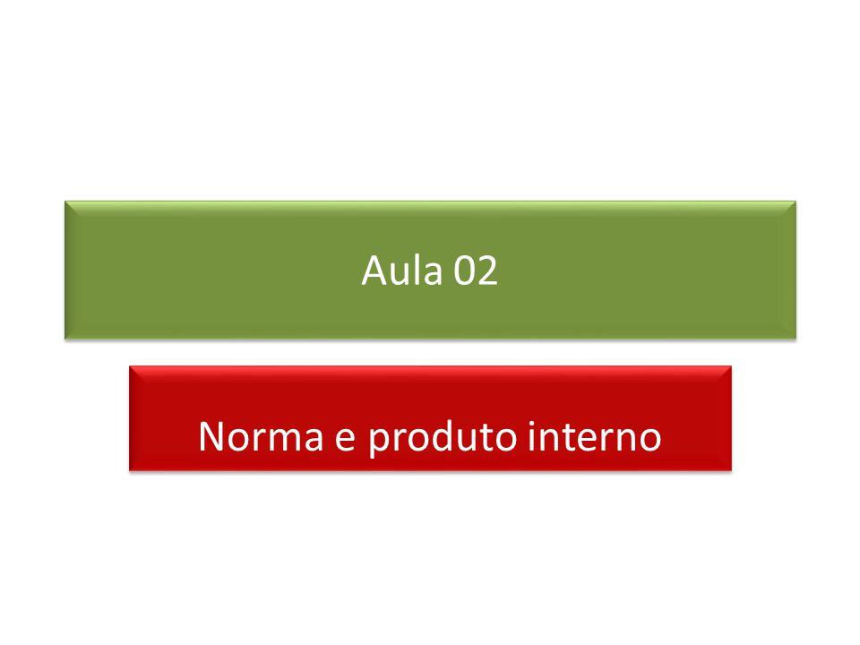 Produto Escalar ou Interno O produto escalar ou interno de dois vetores V e W é definido por em que é o ângulo entre eles.