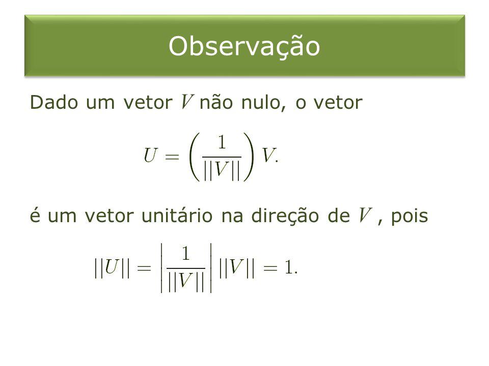 Observação Dado um vetor V não nulo, o vetor é um vetor unitário na direção de V, pois