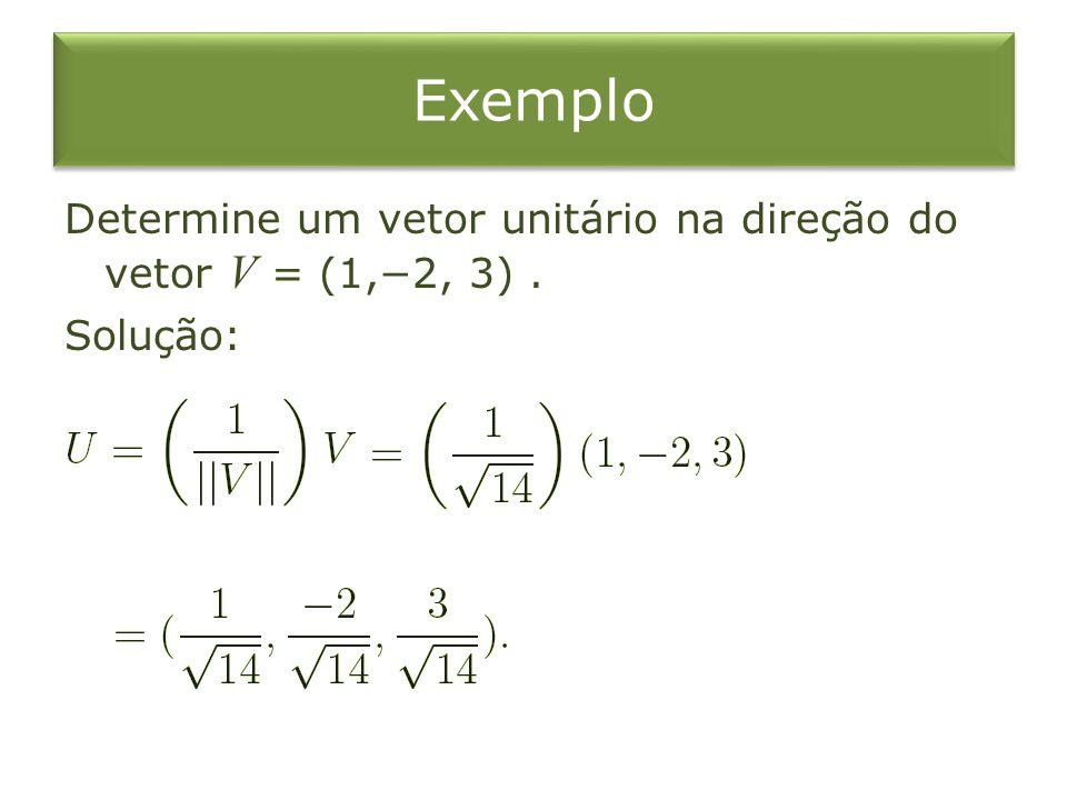 Exemplo Determine um vetor unitário na direção do vetor V = (1,2, 3). Solução:
