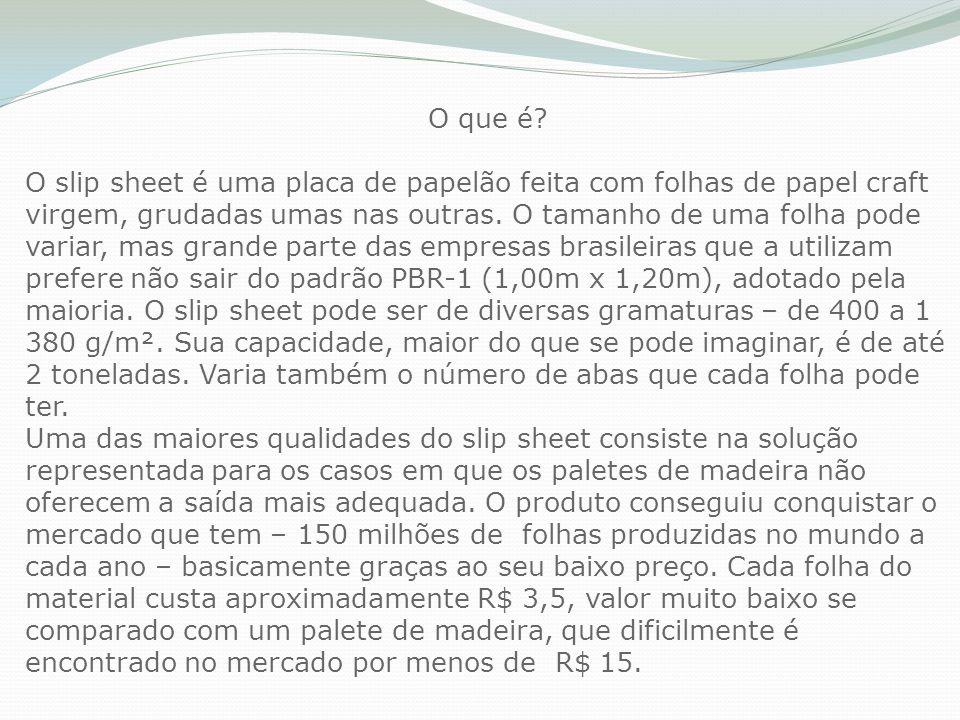 O que é? O slip sheet é uma placa de papelão feita com folhas de papel craft virgem, grudadas umas nas outras. O tamanho de uma folha pode variar, mas