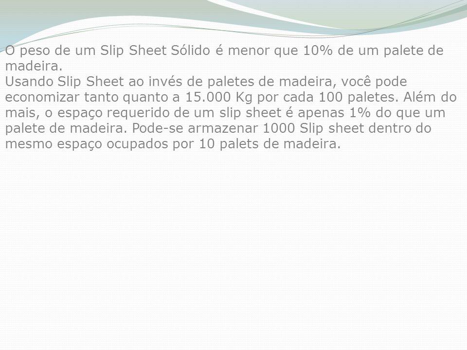 O peso de um Slip Sheet Sólido é menor que 10% de um palete de madeira. Usando Slip Sheet ao invés de paletes de madeira, você pode economizar tanto q