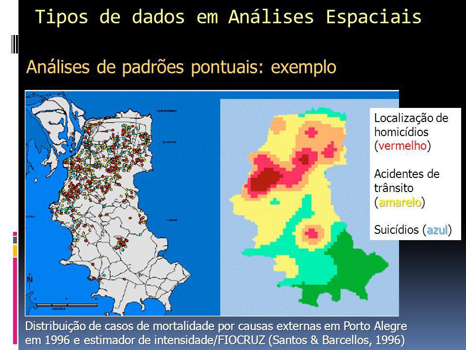 Tipos de dados em Análises Espaciais Análises de padrões pontuais: exemplo Distribuição de casos de mortalidade por causas externas em Porto Alegre em 1996 e estimador de intensidade/FIOCRUZ (Santos & Barcellos, 1996) Localização de homicídios (vermelho) amarelo Acidentes de trânsito (amarelo) azul Suicídios (azul)