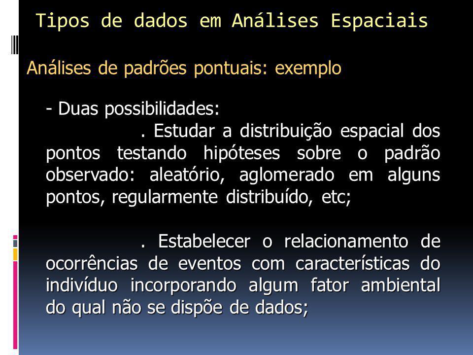 Tipos de dados em Análises Espaciais - Duas possibilidades:.