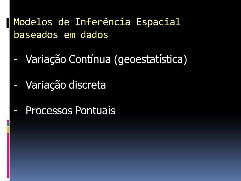 Modelos de Inferência Espacial baseados em dados -Variação Contínua (geoestatística) -Variação discreta -Processos Pontuais